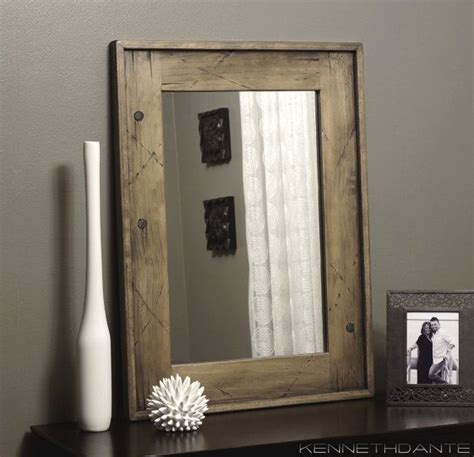 White Wood Bathroom Mirror by Wood Mirror Bathroom Weathered Distressed With Antique