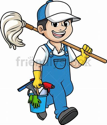 Cleaner Male Professional Cartoon Clipart Cleaning Vector