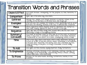 transition words  phrases  posters  student