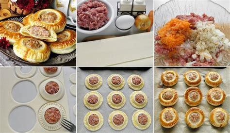Apaļi kārtainās mīklas atvērtie pīrādziņi ar maltu gaļu ...