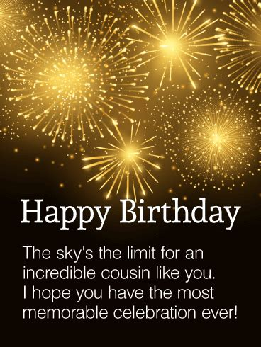 incredible cousin happy birthday wishes card