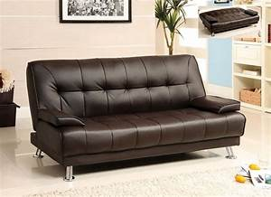 Futon sofa bed dark brown leather removable armrests for Dark brown leather sofa bed