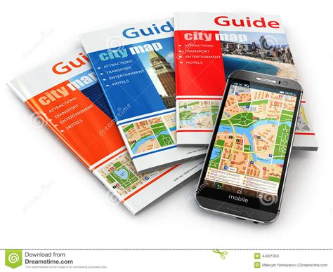 tourism bureau gps mobile phone navigation and travel guide books stock