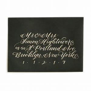 Gold ink on black envelope 50 cent style wedding for Wedding invitations 50 cents each