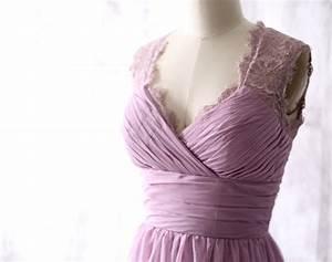 Light Purple Chiffon Long Bridesmaid Dress, Wedding Dress ...
