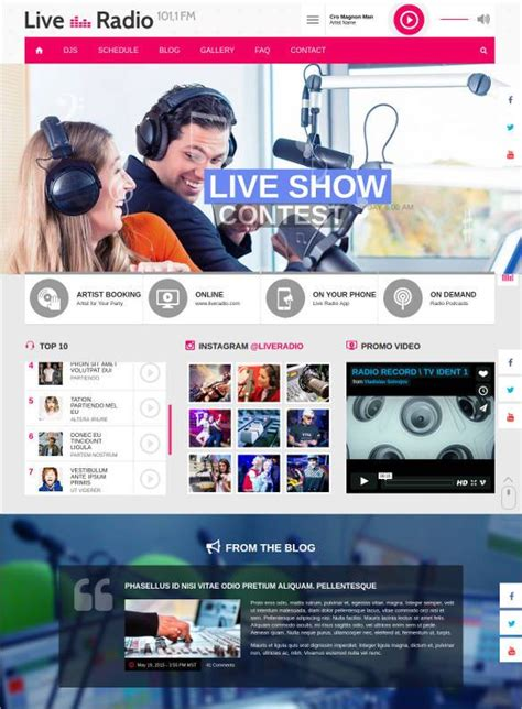 Live Web by 29 Radio Station Website Themes Templates Free