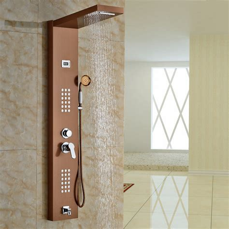 Aspen Rose Gold Massage Shower Panel System with Shower