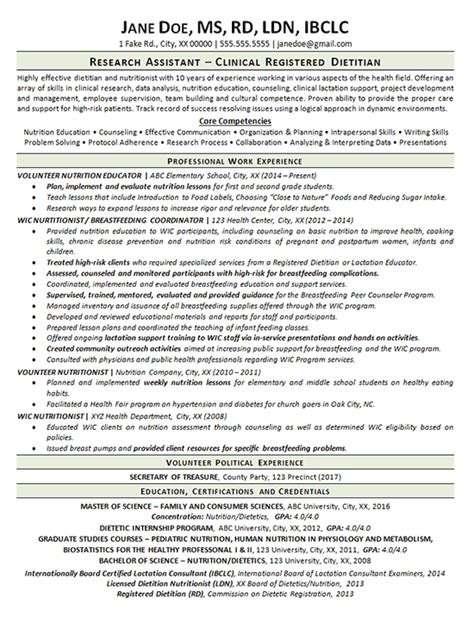 clinical dietitian resume exle nutritionist