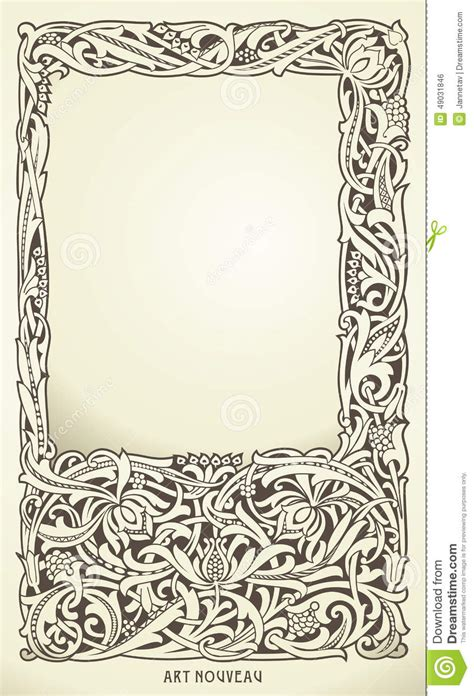 decorative frame in nouveau style detailed render stock vector image 49031846