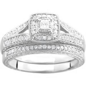 walmart wedding ring sets 1 3 carat t w bridal set in argentium silver walmart