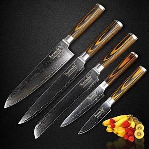 Sunnecko, 5pcs, Kitchen, Knife, Set, 73, Layers, Japaness, Damascus, Vg10, Steel, Sharp, Utility, Chef, Knives