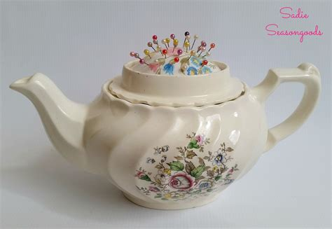 vintage teapot sewing caddy  hidden pincushion hometalk