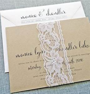 Monica calligraphy script recycled kraft wedding for Lace belly band for wedding invitations