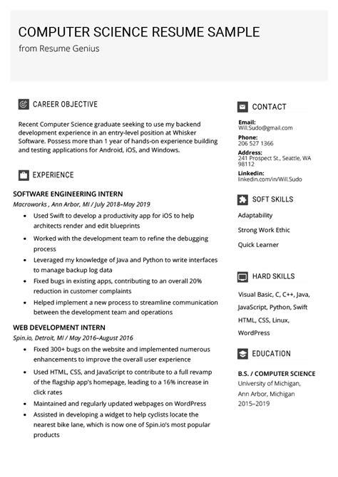 computer science resume sample writing tips resume genius