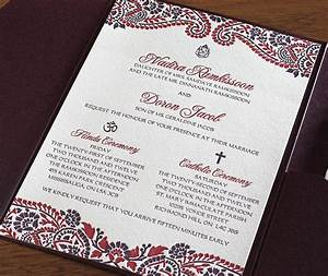 Hindu and catholic multicultural wedding invitation in for Hindu religious wedding invitations