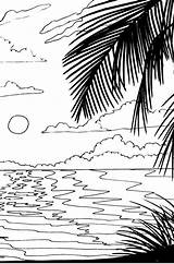 Coloring Sunset Pages Beach Sunrise Drawing Adult Stencil Scenery Ocean Scene Nature Adults Digital Getdrawings Colouring Glass Printable Pattern Natural sketch template