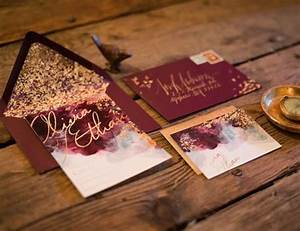 Picture Of burgundy and gold leaf wedding invites