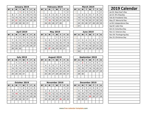 2019 yearly calendar printable with week numbers | Free ...