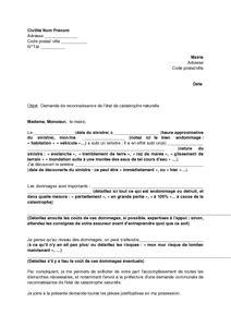 modele lettre declaration sinistre secheresse exemple gratuit de lettre demande reconnaissance un 233 tat