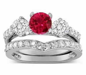 luxurious 2 carat ruby and diamond wedding ring set in 10k With diamond and ruby wedding ring sets
