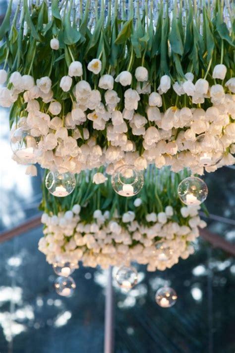 tulips hanging upside  wedding reception color
