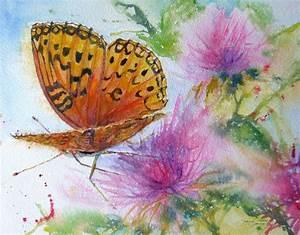 butterfly original watercolor painting feeding pollen flowers