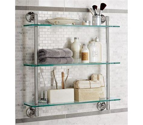 Bathroom Storage Glass Shelves Mercer Glass Shelf Pottery Barn
