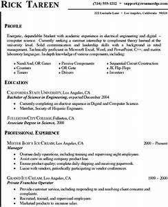 Resume Template For University Student
