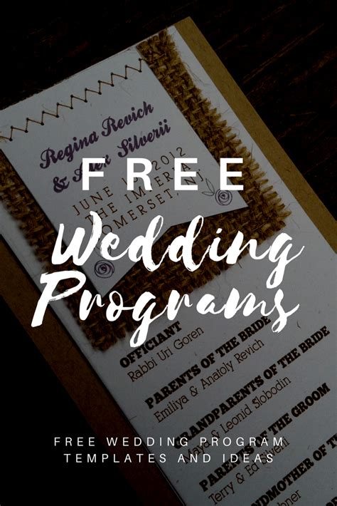 wedding templates free free wedding program templates wedding program ideas