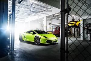 Green garage gallardo lamborghini supercar wallpaper ...
