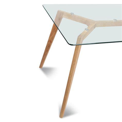 table cuisine rectangulaire table rectangulaire plateau de verre style scandinave
