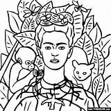 Portrait Frida Self Kahlo Coloring sketch template