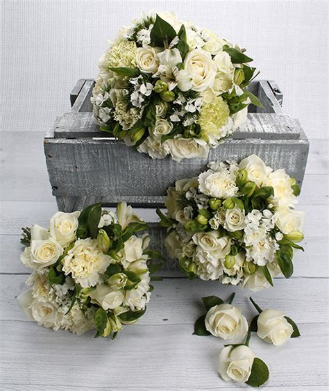 mixed green white flowers sample wedding bouquet