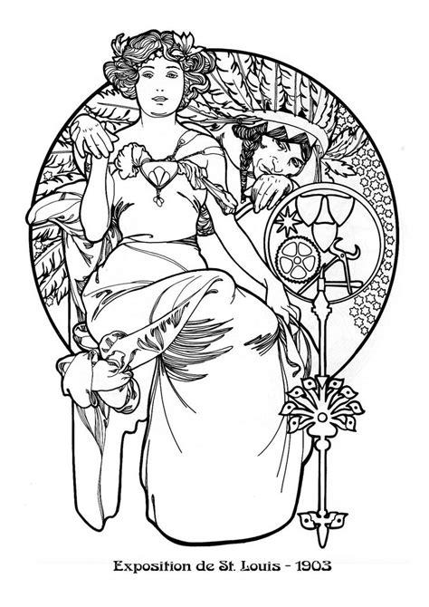 Jugendstil Kleurplaat by 294 Best Colorir Nouveau Images On