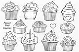 Cupcakes Clip Doodle Cupcake Outline Clipart Drawn Hand Line Sweets Vector Doodles Ice Cream Cake Cup Creative Market Birthday Dessert sketch template
