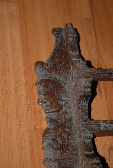 antique carved wood figural wall display plate rack europe antiques collectibles