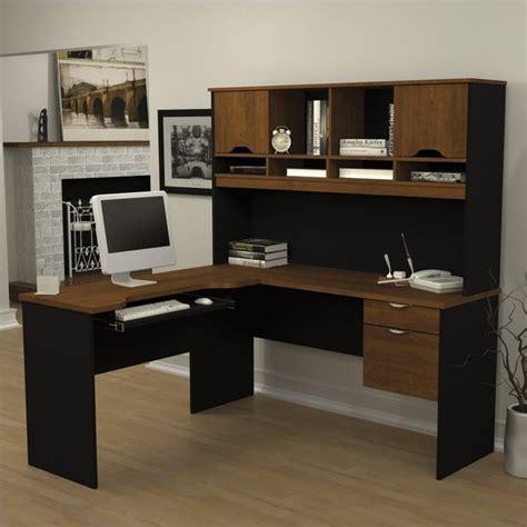 bestar innova l shaped desk bestar innova l shape wood workstation w hutch tuscany