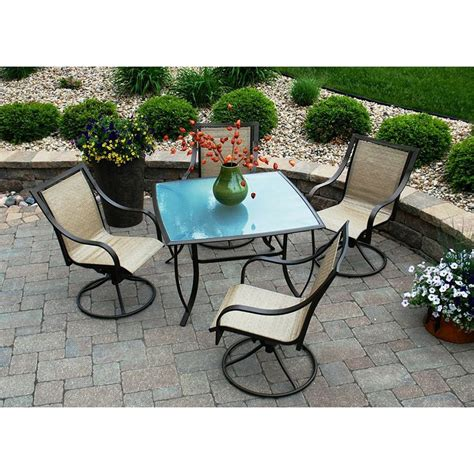 outdoor swivel patio dining set seats 4 patio
