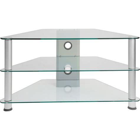meuble d 39 angle tv en verre clair 96x46x50cm