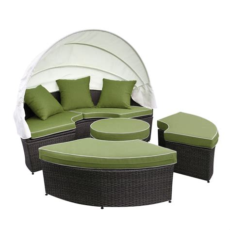 weather wicker sectional daybed sage green cushions