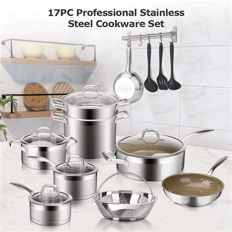 cookware stainless steel piece pans pots duxtop induction professional ceramic impact bonded nonstick pan technology kitchen