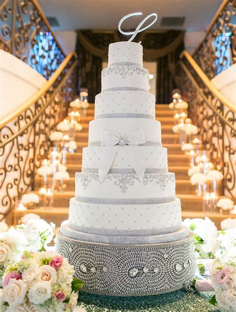wedding cake displays sparkling crystal cake stands