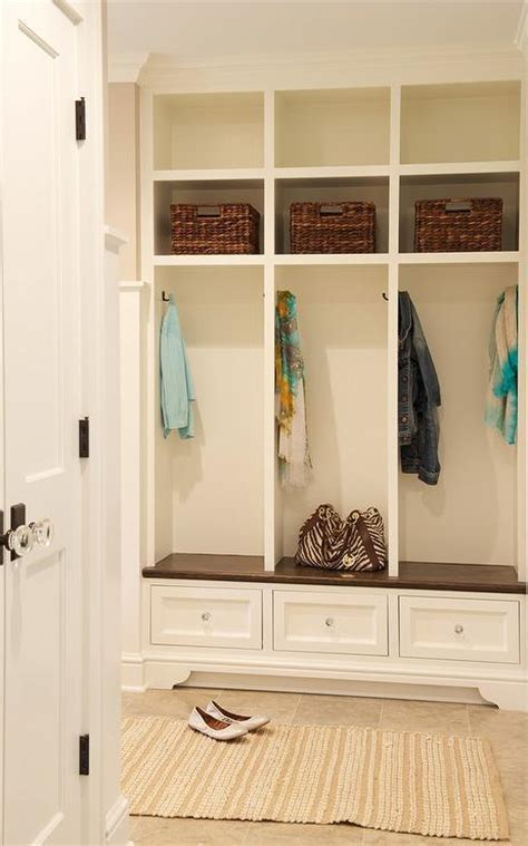 Long Mudroom with Seeded Glass Lanterns   Transitional