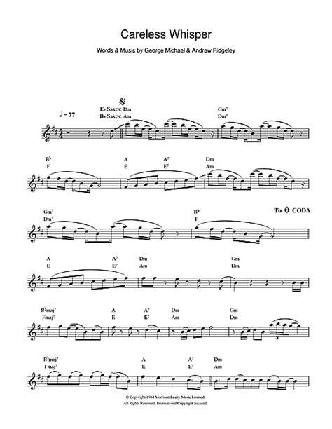 careless whisper sax sheet music careless whisper sheet music by george michael saxophone