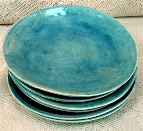 made plates hand made side salad plates stoneware by lesliefreemandesigns
