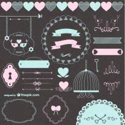 vector vintage wedding ornaments and decorative elements 123freevectors