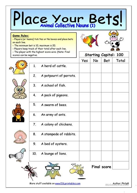 place your bets animal collective nouns 1 worksheet free esl printable worksheets made by