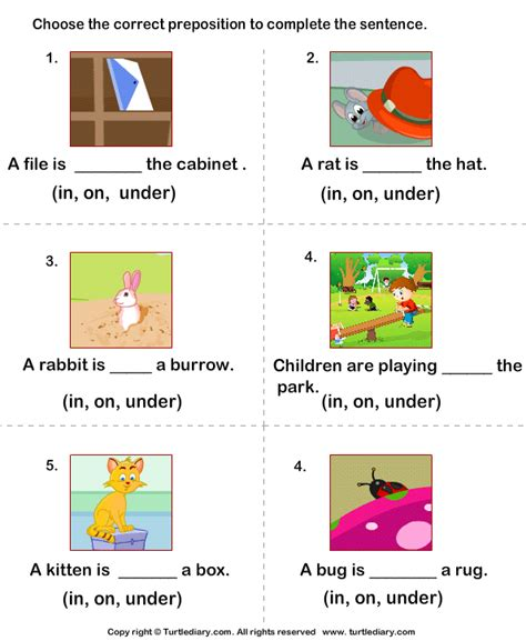 prepositions in on worksheet turtle diary