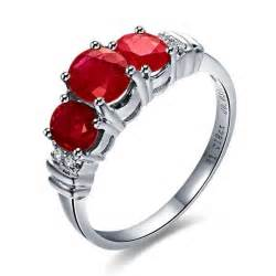 ruby engagement ring three ruby and engagement ring on 10k white gold jeenjewels