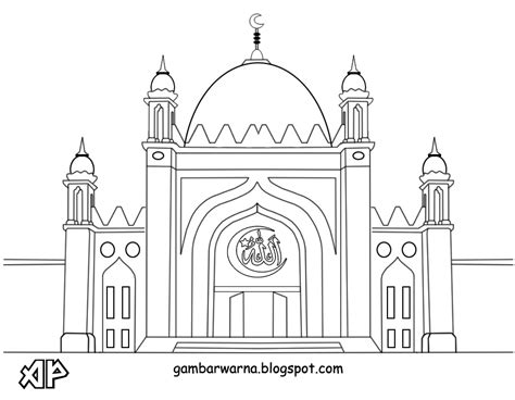 56 mewarnai gambar masjid indah